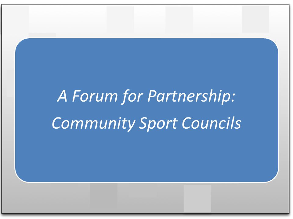 A Forum for Partnership: Community Sport Councils