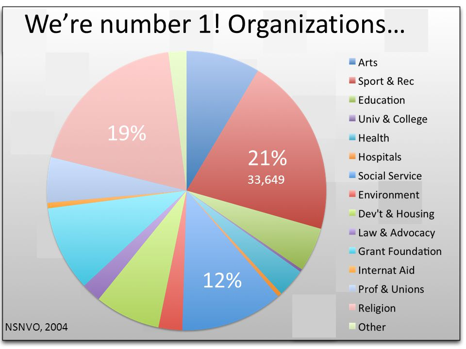 Were number 1! Organizations… 21% 33,649 19% 12% NSNVO, 2004