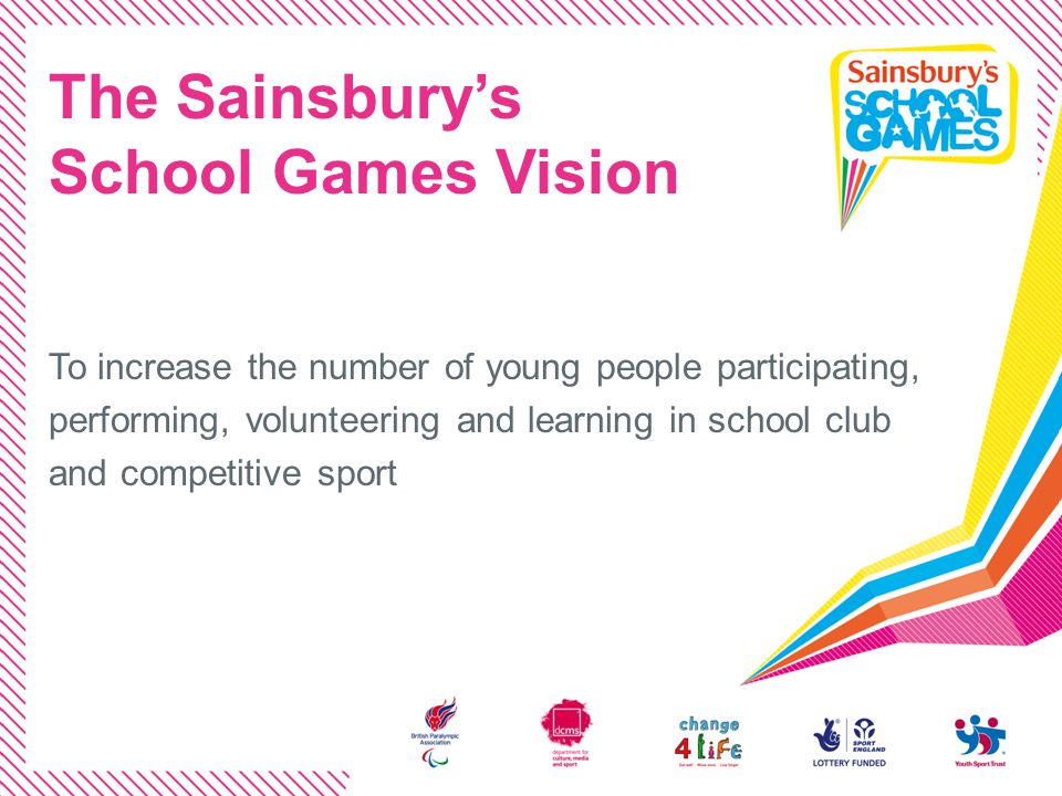 The Sainsburys School Games Vision To increase the number of young people participating, performing, volunteering and learning in school club and comp
