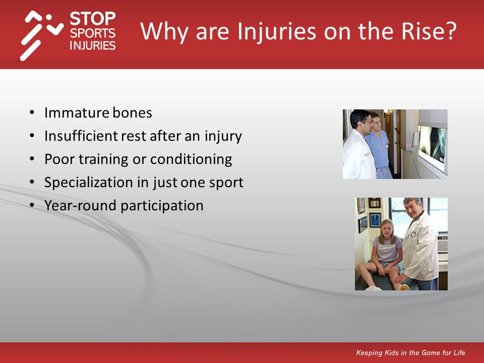 Promote injury prevention on multiple levels, including: Learning about the STOP Sports Injuries campaign and visiting www.STOPSportsInjuries.org for resourceswww.STOPSportsInjuries.org Take the Pledge on the website to prevent injuries Holding ongoing discussions about the importance of rest with athletes Mandating pre-season physicals Enforcing warm-up and cool down routines Encouraging proper strength training routines What Can We Do to Prevent Overuse and Trauma Injuries?
