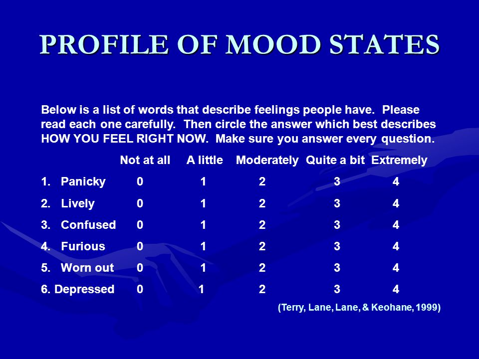 PROFILE OF MOOD STATES Below is a list of words that describe feelings people have.