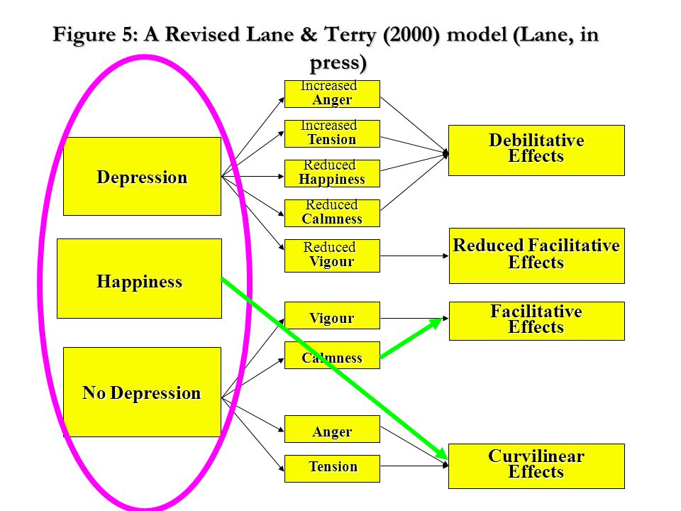 Figure 5: A Revised Lane & Terry (2000) model (Lane, in press) ReducedVigour Vigour Calmness Anger Tension Tension ReducedCalmness ReducedHappiness IncreasedTension IncreasedAnger Depression DebilitativeEffects Reduced Facilitative Effects No Depression FacilitativeEffects CurvilinearEffects Happiness