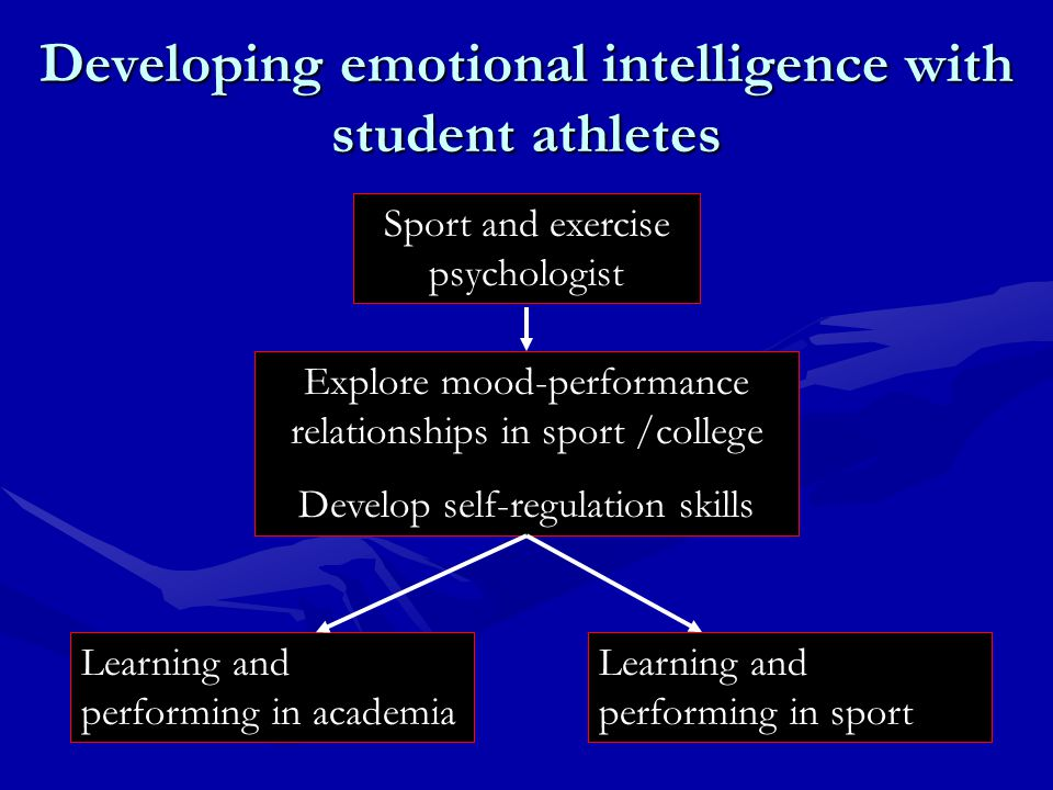 Developing emotional intelligence with student athletes Sport and exercise psychologist Learning and performing in academia Learning and performing in sport Explore mood-performance relationships in sport /college Develop self-regulation skills