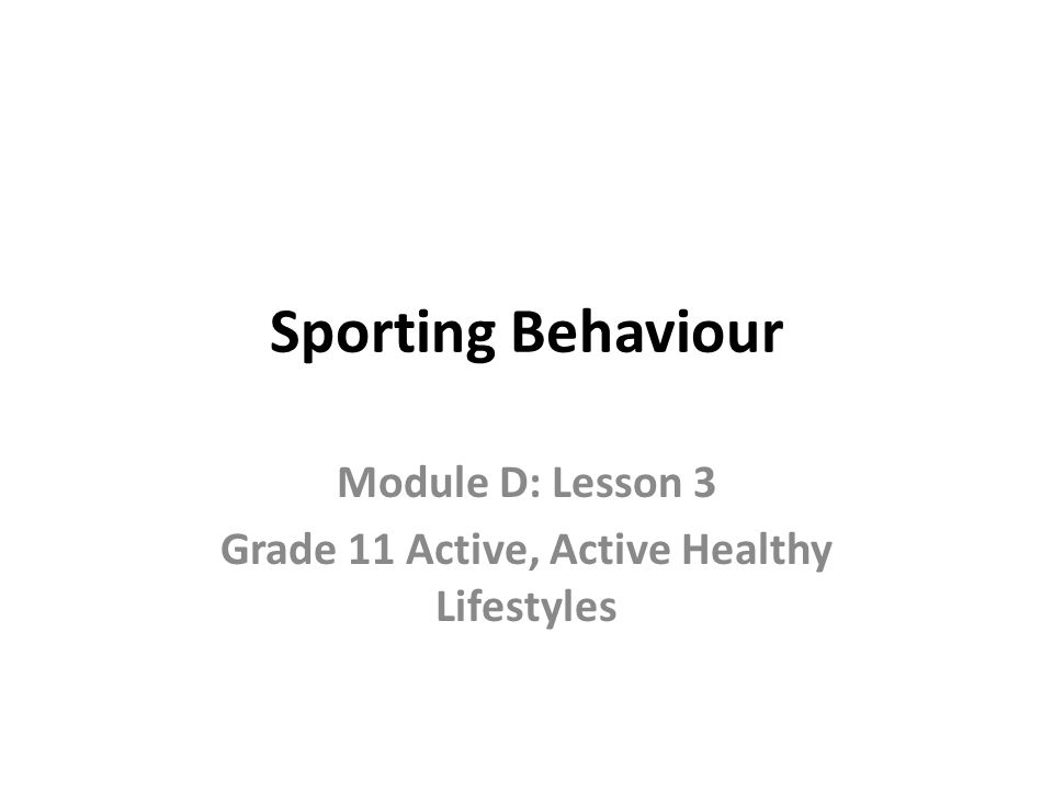 Sporting Behaviour Module D: Lesson 3 Grade 11 Active, Active Healthy Lifestyles