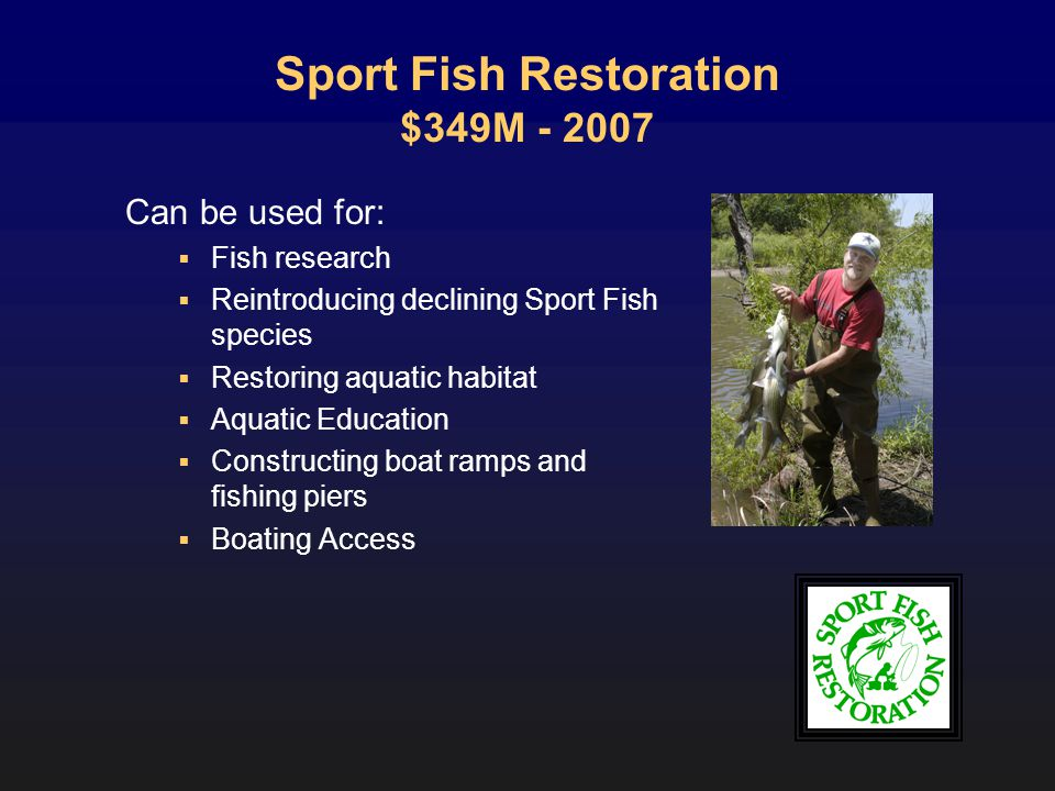Sport Fish Restoration $349M - 2007 Can be used for: Fish research Reintroducing declining Sport Fish species Restoring aquatic habitat Aquatic Education Constructing boat ramps and fishing piers Boating Access