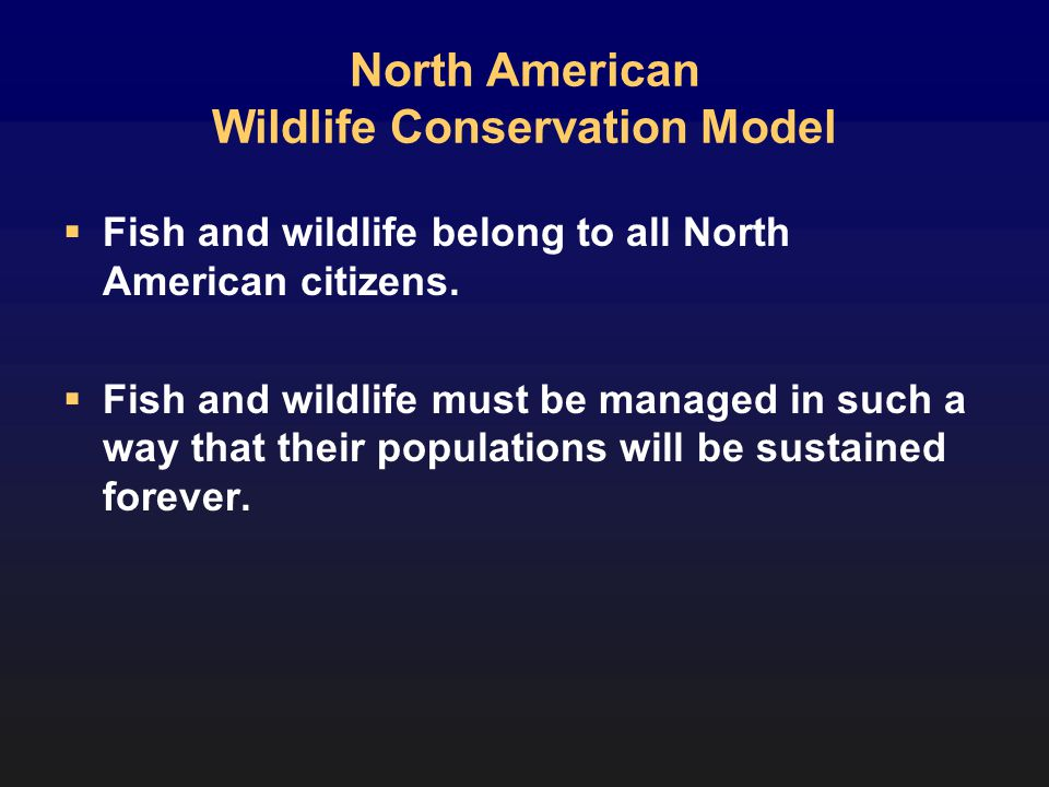 North American Wildlife Conservation Model Fish and wildlife belong to all North American citizens.