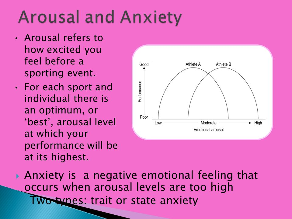 Anxiety is a negative emotional feeling that occurs when arousal levels are too high Two types: trait or state anxiety Arousal refers to how excited y