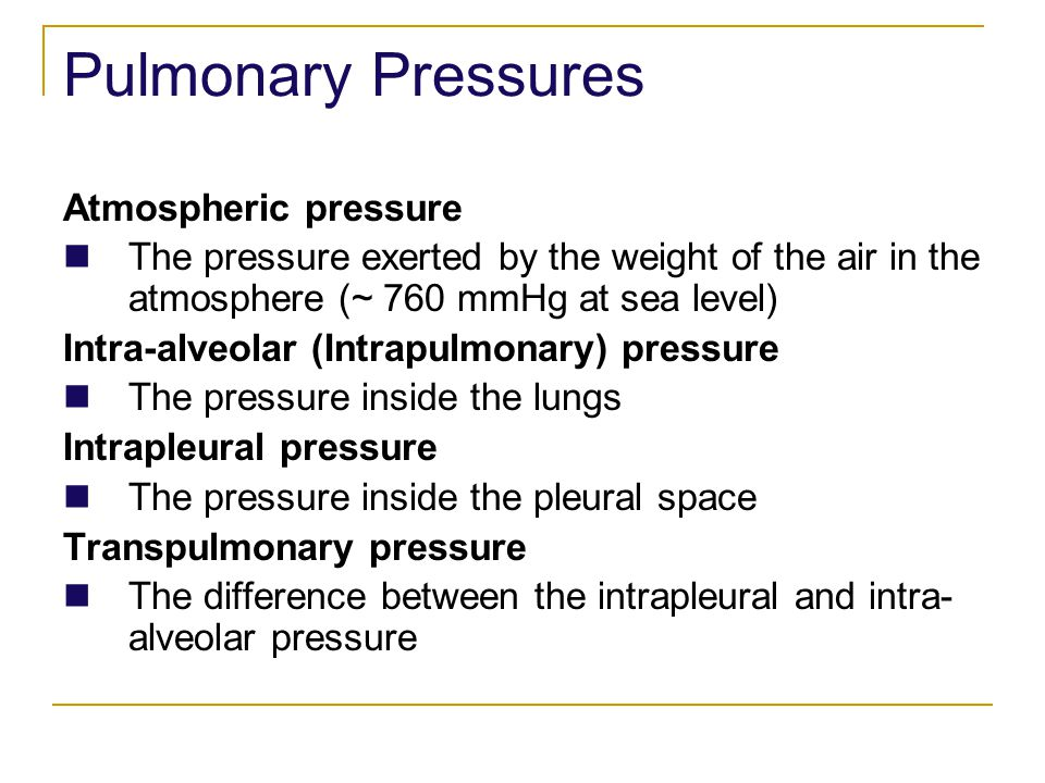 Pulmonary Pressures Atmospheric pressure The pressure exerted by the weight of the air in the atmosphere (~ 760 mmHg at sea level) Intra-alveolar (Int