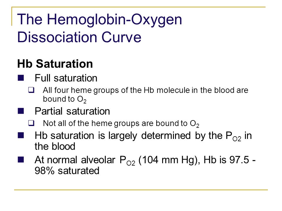 The Hemoglobin-Oxygen Dissociation Curve Hb Saturation Full saturation All four heme groups of the Hb molecule in the blood are bound to O 2 Partial s