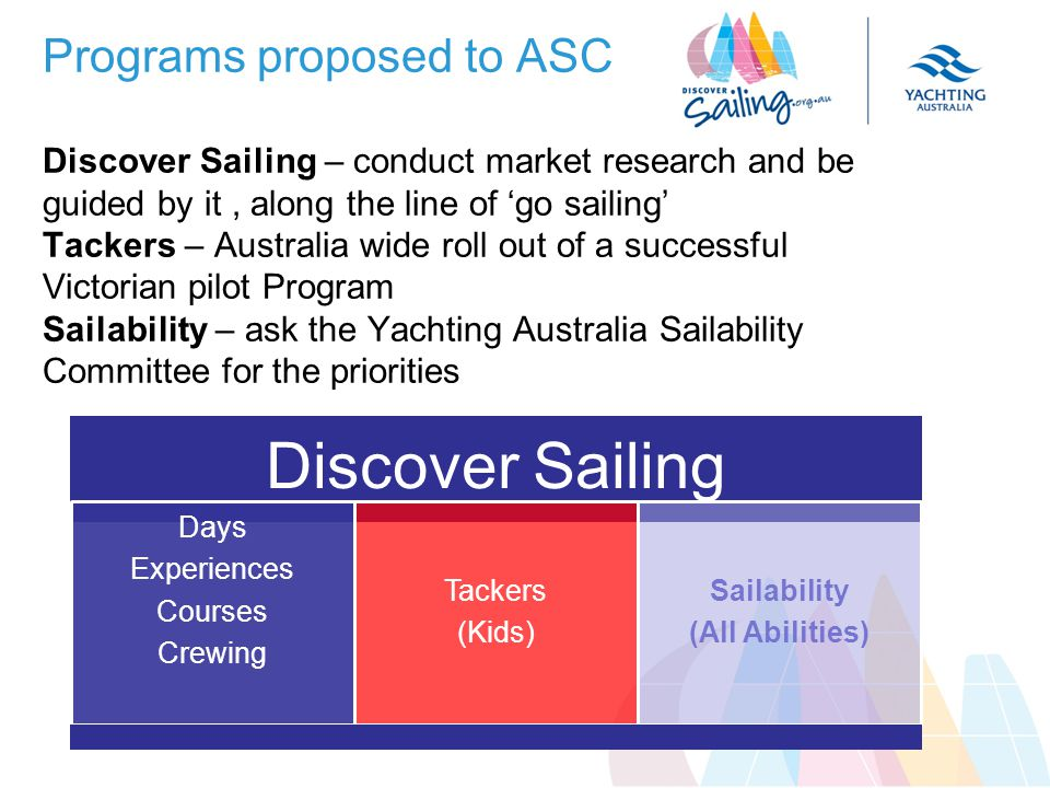 Programs proposed to ASC Discover Sailing – conduct market research and be guided by it, along the line of go sailing Tackers – Australia wide roll out of a successful Victorian pilot Program Sailability – ask the Yachting Australia Sailability Committee for the priorities Discover Sailing Days Experiences Courses Crewing Tackers (Kids) Sailability (All Abilities)