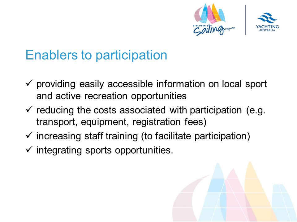 Enablers to participation providing easily accessible information on local sport and active recreation opportunities reducing the costs associated with participation (e.g.