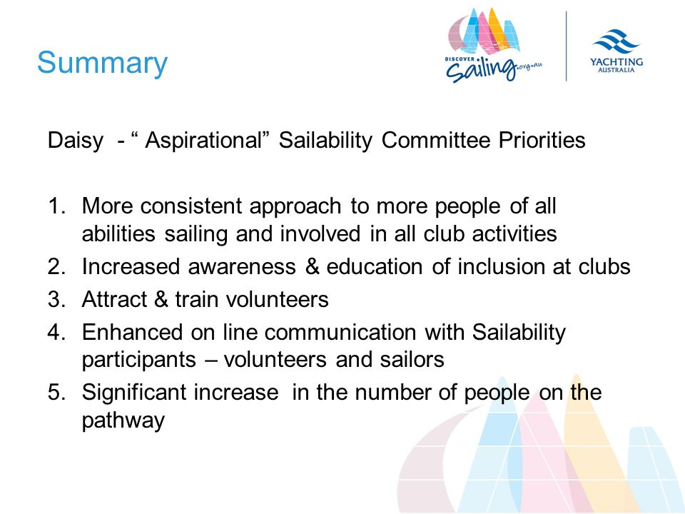 Summary Daisy - Aspirational Sailability Committee Priorities 1.More consistent approach to more people of all abilities sailing and involved in all club activities 2.Increased awareness & education of inclusion at clubs 3.Attract & train volunteers 4.Enhanced on line communication with Sailability participants – volunteers and sailors 5.Significant increase in the number of people on the pathway