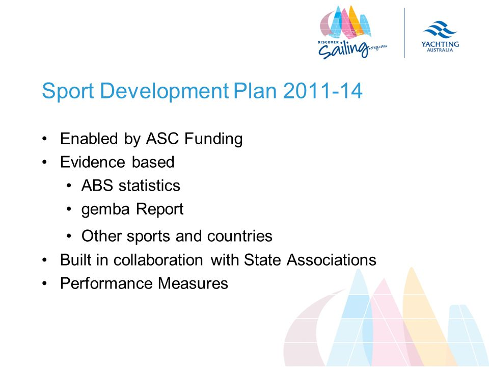 Sport Development Plan 2011-14 Enabled by ASC Funding Evidence based ABS statistics gemba Report Other sports and countries Built in collaboration with State Associations Performance Measures