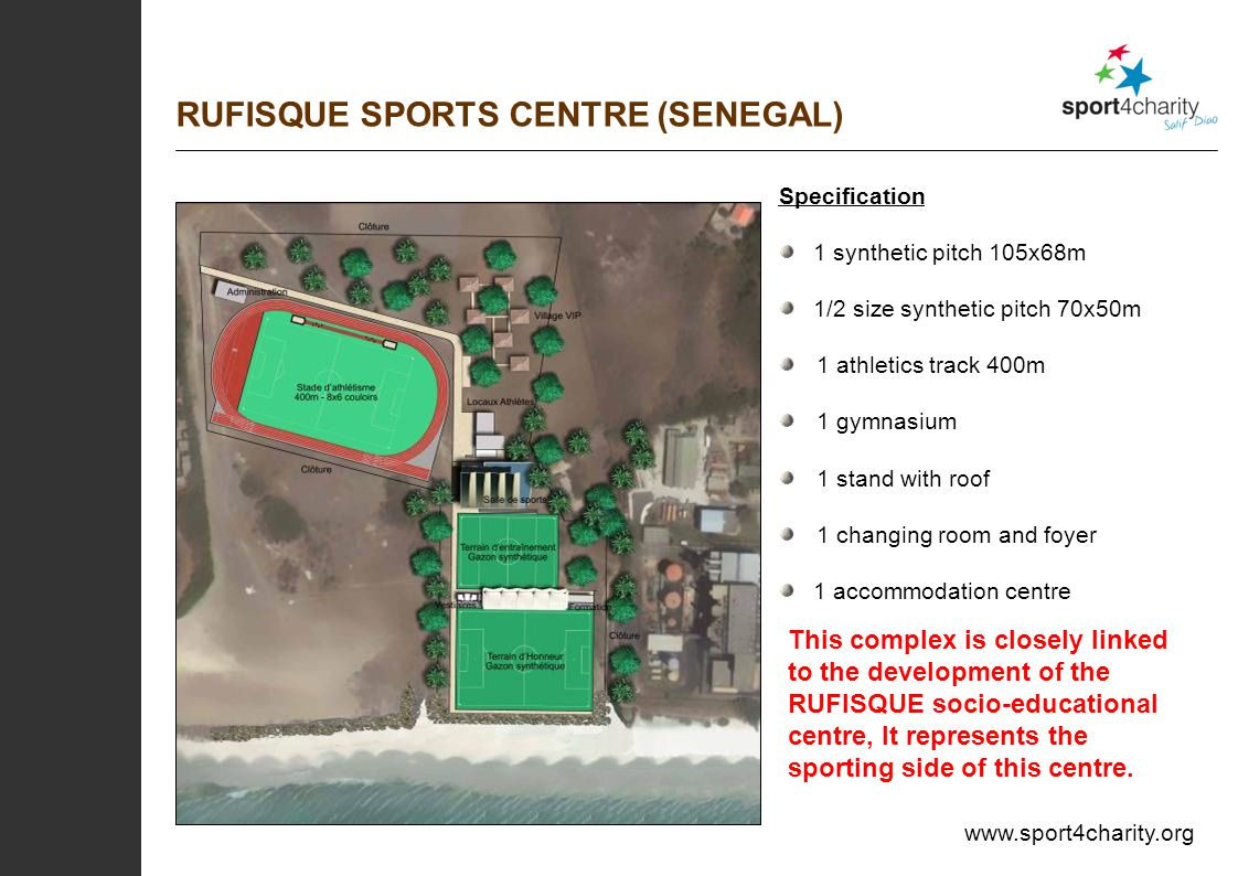 Specification 1 synthetic pitch 105x68m 1/2 size synthetic pitch 70x50m 1 athletics track 400m 1 gymnasium 1 stand with roof 1 changing room and foyer 1 accommodation centre RUFISQUE SPORTS CENTRE (SENEGAL) This complex is closely linked to the development of the RUFISQUE socio-educational centre, It represents the sporting side of this centre.
