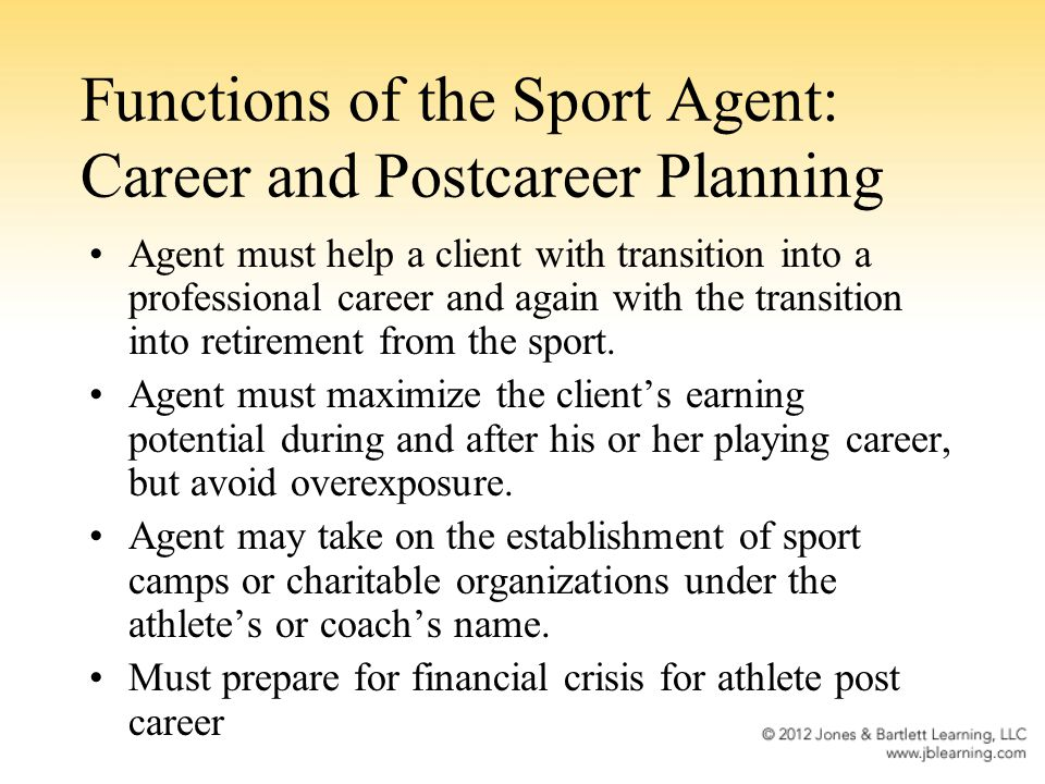 Functions of the Sport Agent: Career and Postcareer Planning Agent must help a client with transition into a professional career and again with the tr