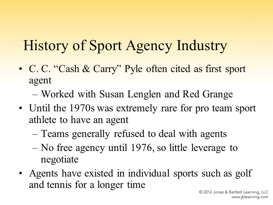 Sport Agency: Seven Factors That Influenced Growth 1.Evolution of players associations.