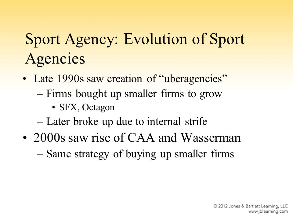 Functions of the Sport Agent: Financial Planning Covers banking and cash flow management, tax planning, investment advising, estate planning, and risk management Sport agents often attempt to take on this function without proper skills and training –Doing so can lead to allegations of incompetence and negligence Disability insurance plans to protect athletes from career-ending injuries Recent surge of companies offering athletes pre- draft lines of credit