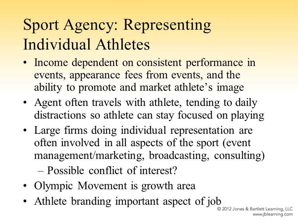Functions of the Sport Agent: Career and Postcareer Planning Agent must help a client with transition into a professional career and again with the transition into retirement from the sport.