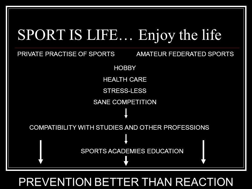 SPORT IS LIFE… Enjoy the life PRIVATE PRACTISE OF SPORTSAMATEUR FEDERATED SPORTS HOBBY HEALTH CARE STRESS-LESS SANE COMPETITION COMPATIBILITY WITH STU