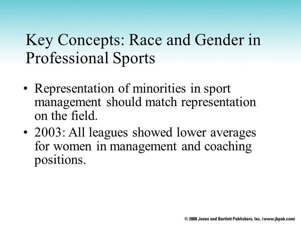 Key Concepts: Race and Gender in Professional Sports Representation of minorities in sport management should match representation on the field. 2003: