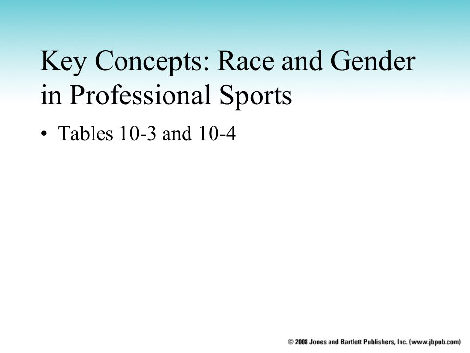 Key Concepts: Race and Gender in Professional Sports Tables 10-3 and 10-4