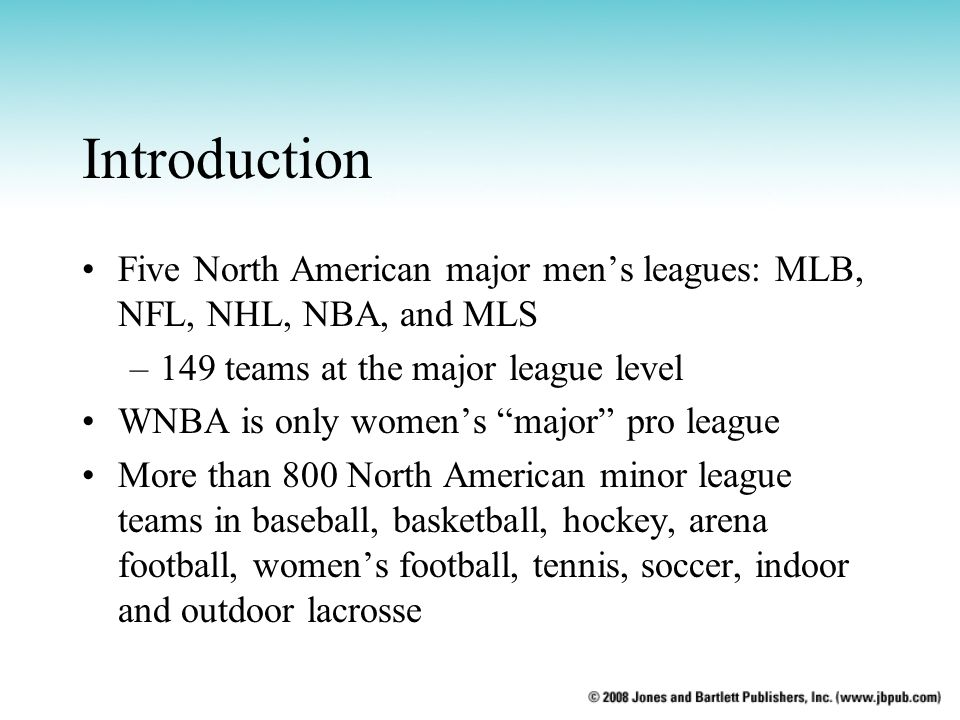 Introduction Five North American major mens leagues: MLB, NFL, NHL, NBA, and MLS –149 teams at the major league level WNBA is only womens major pro le