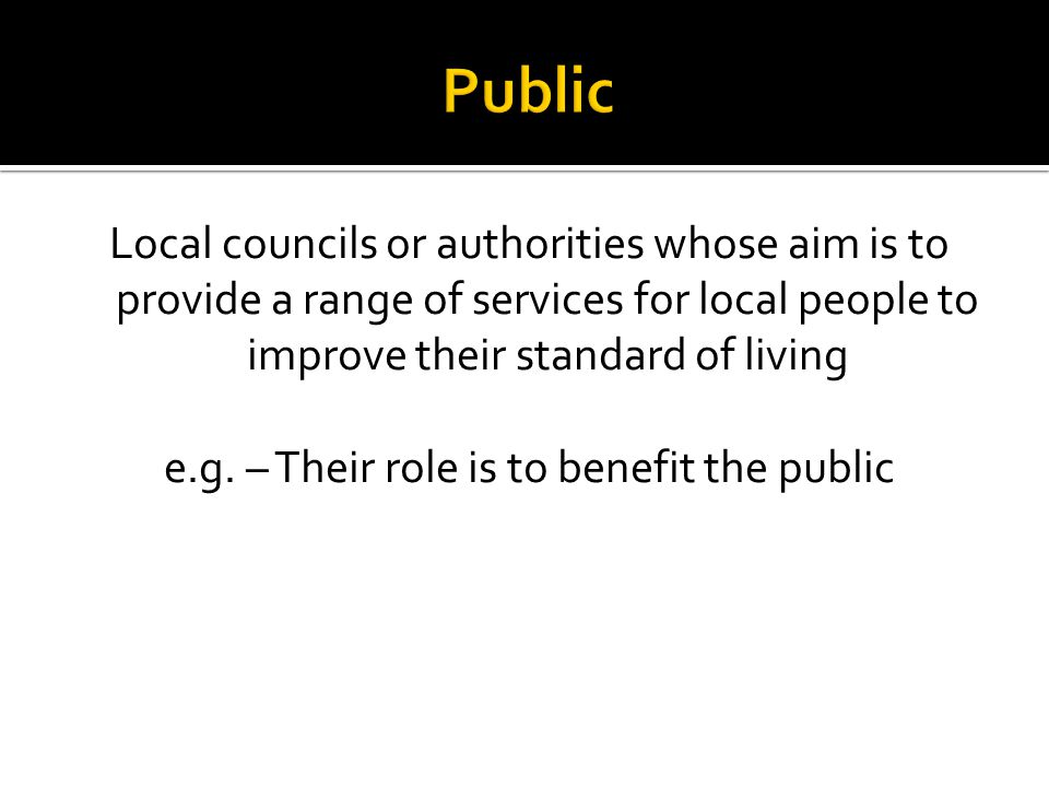 Local councils or authorities whose aim is to provide a range of services for local people to improve their standard of living e.g. – Their role is to