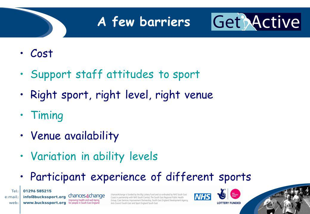 A few barriers Cost Support staff attitudes to sport Right sport, right level, right venue Timing Venue availability Variation in ability levels Participant experience of different sports