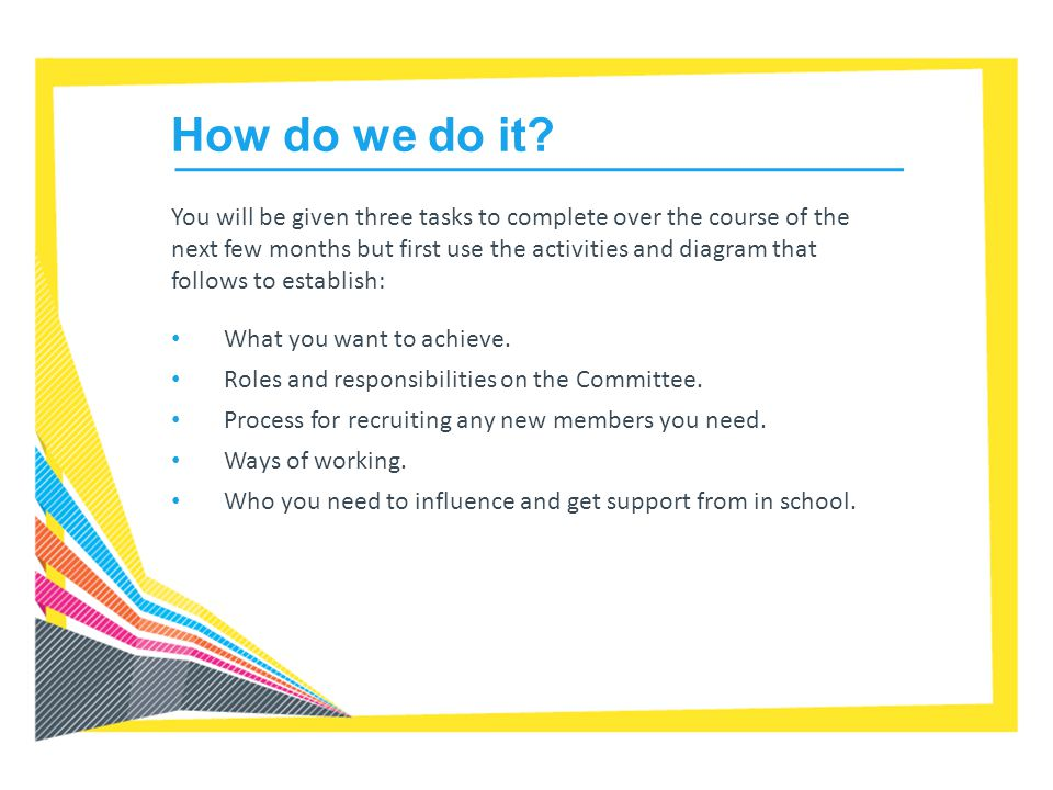 How to set up an SSOC Agree what the Committee will achieve Agree process to select Committee members Agree how the Committee will operate Decide roles needed on the Committee Produce and promote role descriptions across school Promote the role of the Committee in the school