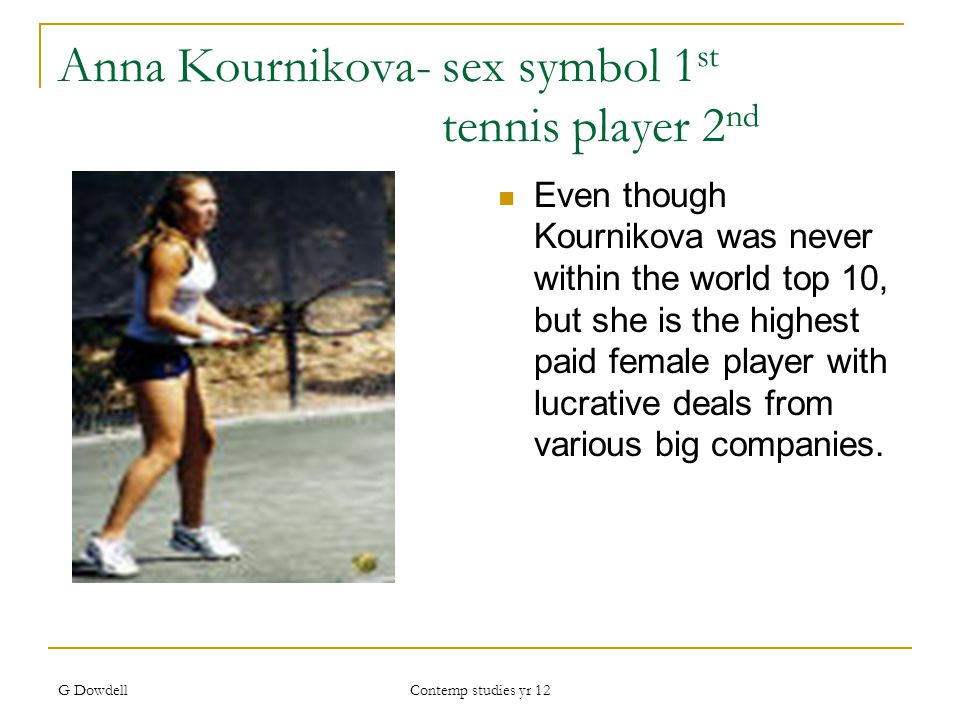 G Dowdell Contemp studies yr 12 Anna Kournikova- sex symbol 1 st tennis player 2 nd Even though Kournikova was never within the world top 10, but she is the highest paid female player with lucrative deals from various big companies.