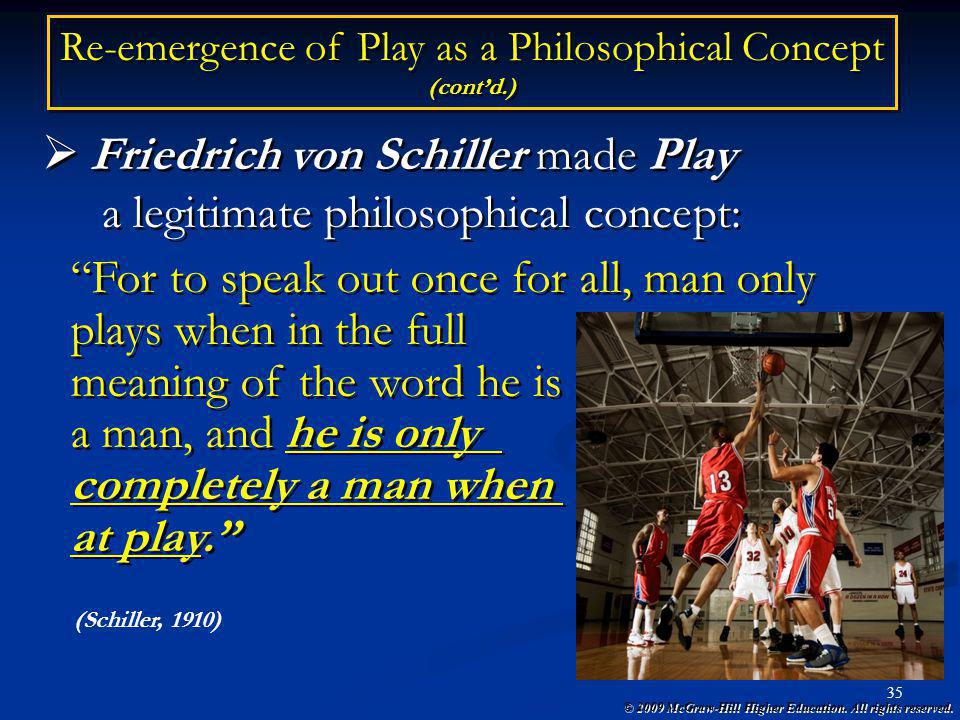 © 2009 McGraw-Hill Higher Education. All rights reserved. 35 Friedrich von Schiller made Play a legitimate philosophical concept: Friedrich von Schill