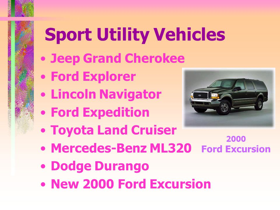 Sport Utility Vehicles Jeep Grand Cherokee Ford Explorer Lincoln Navigator Ford Expedition Toyota Land Cruiser Mercedes-Benz ML320 Dodge Durango New 2000 Ford Excursion 2000 Ford Excursion