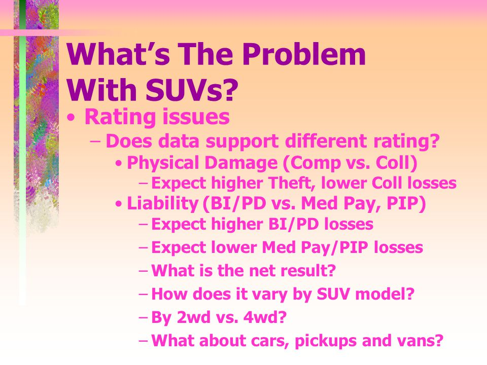 Whats The Problem With SUVs. Rating issues –Does data support different rating.
