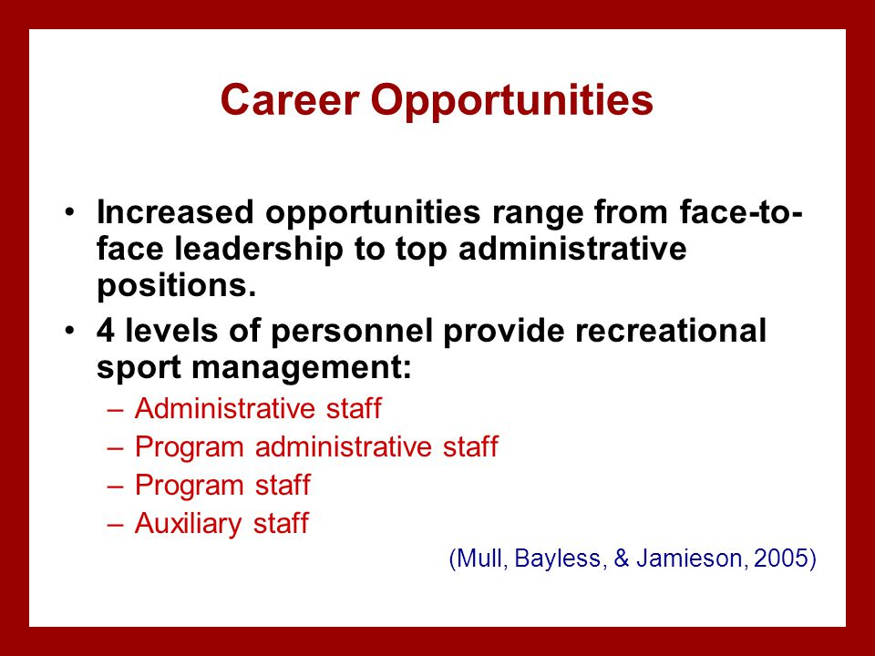 Career Opportunities Increased opportunities range from face-to- face leadership to top administrative positions. 4 levels of personnel provide recrea