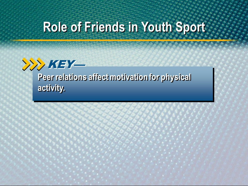 Peer relations affect motivation for physical activity. KEY Role of Friends in Youth Sport