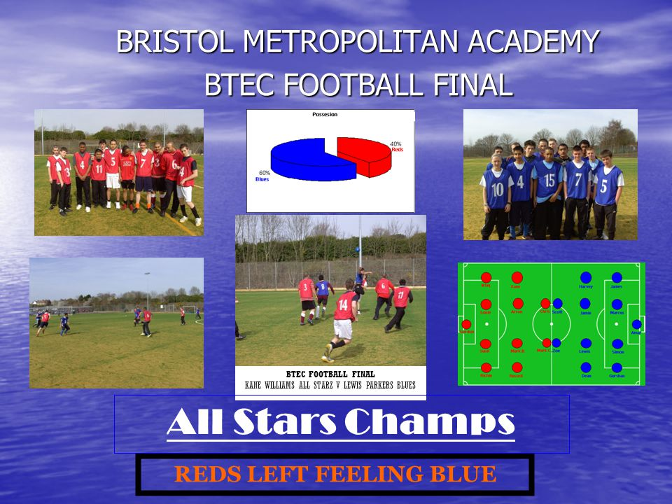 BRISTOL METROPOLITAN ACADEMY BTEC FOOTBALL FINAL KANE WILLIAMS ALL STARZ V LEWIS PARKERS BLUES REDS LEFT FEELING BLUE All Stars Champs