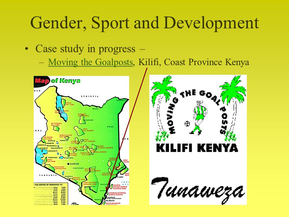 Gender, Sport and Development Case study in progress – –Moving the Goalposts, Kilifi, Coast Province KenyaMoving the Goalposts