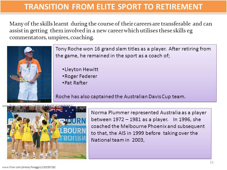 TRANSITION FROM ELITE SPORT TO RETIREMENT Many of the skills learnt during the course of their careers are transferable and can assist in getting them