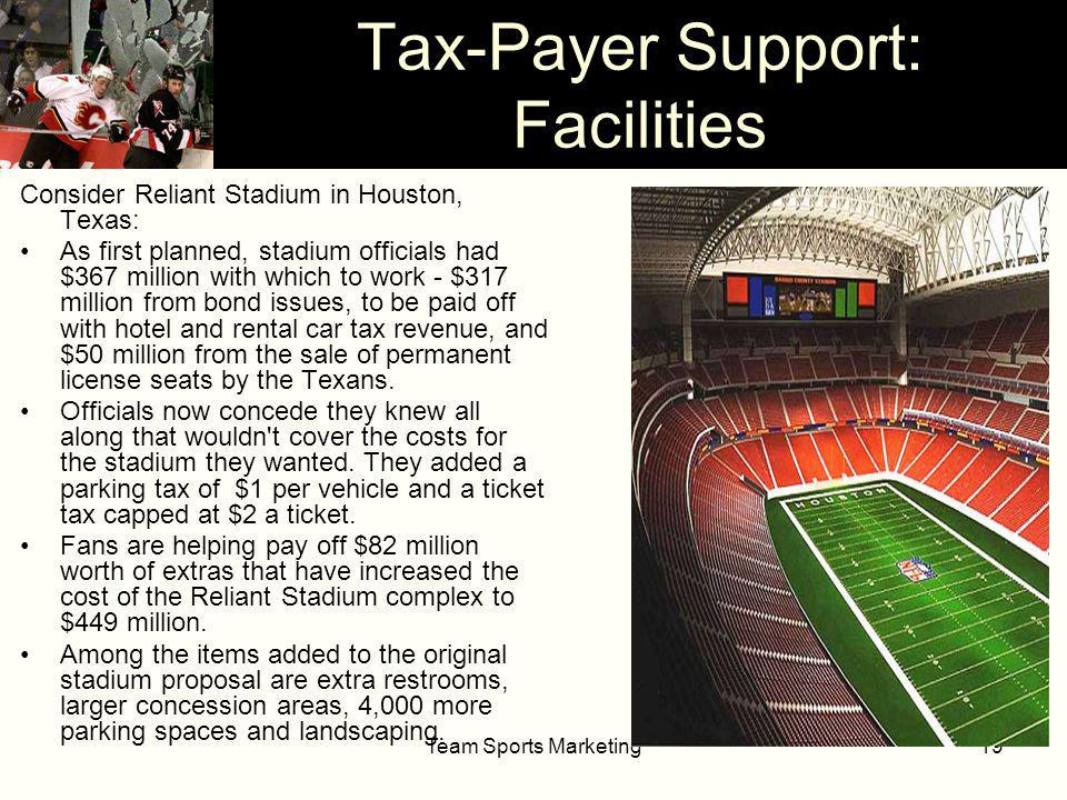 Team Sports Marketing19 Tax-Payer Support: Facilities Consider Reliant Stadium in Houston, Texas: As first planned, stadium officials had $367 million with which to work - $317 million from bond issues, to be paid off with hotel and rental car tax revenue, and $50 million from the sale of permanent license seats by the Texans.