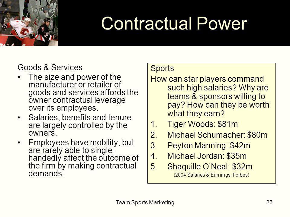 Team Sports Marketing23 Contractual Power Goods & Services The size and power of the manufacturer or retailer of goods and services affords the owner contractual leverage over its employees.