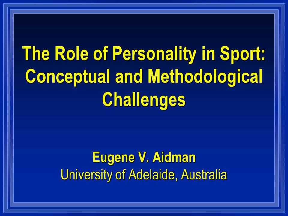 Example 1: Personality in Long Term Achievement Elite Juniors transition to Senior AFL (Aidman, 2004) Method l 32 elite junior players from a leading Australian Football League (AFL) club: mean age 17.8 (1.1) l players profiled with Cattells 16PF (Form A) at the peak of their junior playing career – immediately after the season where they won the National Championship in their age group.