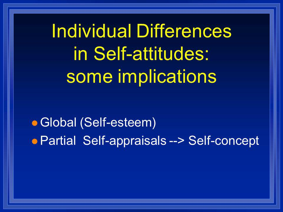 Individual Differences in Self-attitudes: some implications l Global (Self-esteem) l Partial Self-appraisals --> Self-concept