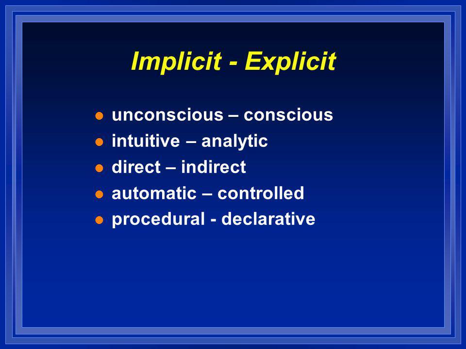 Implicit - Explicit l unconscious – conscious l intuitive – analytic l direct – indirect l automatic – controlled l procedural - declarative