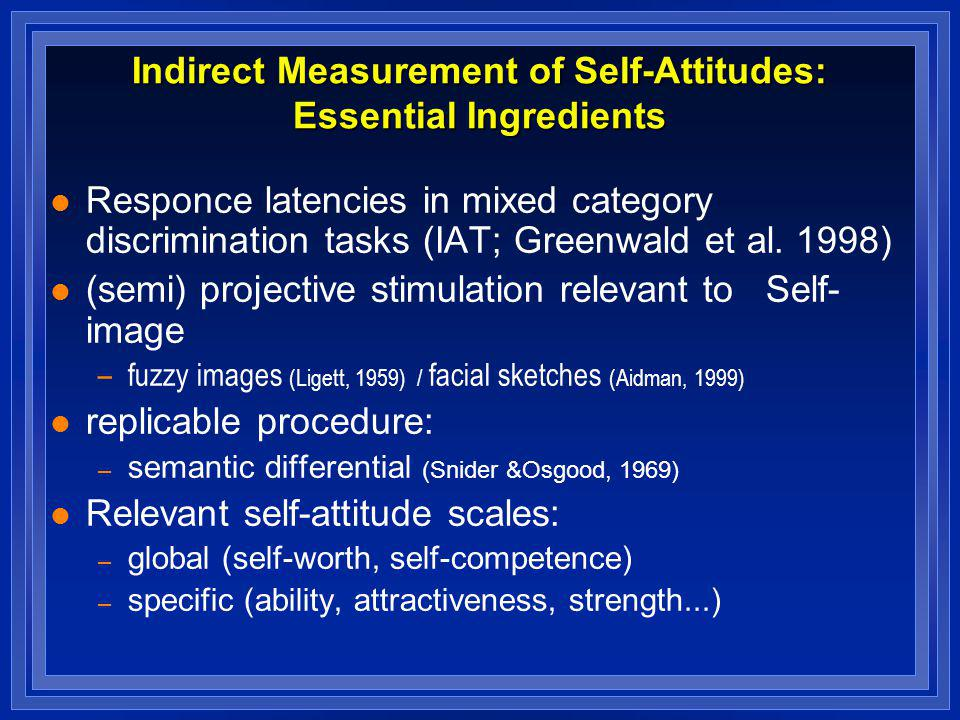 Indirect Measurement of Self-Attitudes: Essential Ingredients l Responce latencies in mixed category discrimination tasks (IAT; Greenwald et al. 1998)