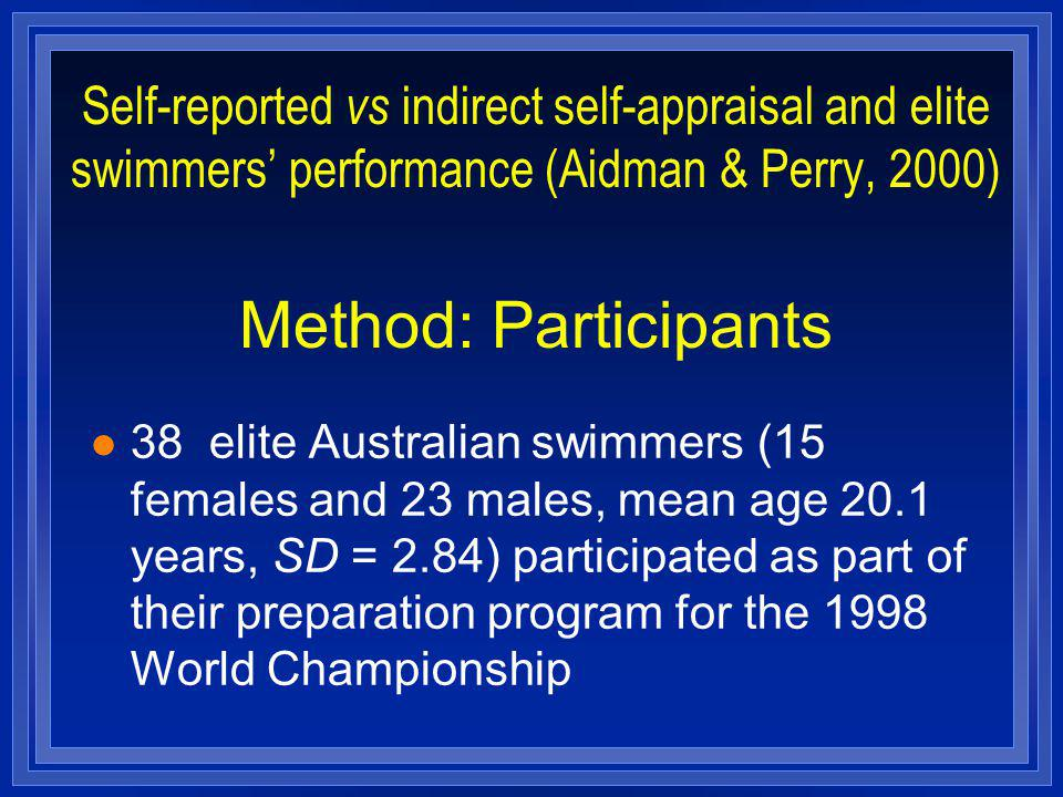 Self-reported vs indirect self-appraisal and elite swimmers performance (Aidman & Perry, 2000) Method: Participants l 38 elite Australian swimmers (15 females and 23 males, mean age 20.1 years, SD = 2.84) participated as part of their preparation program for the 1998 World Championship