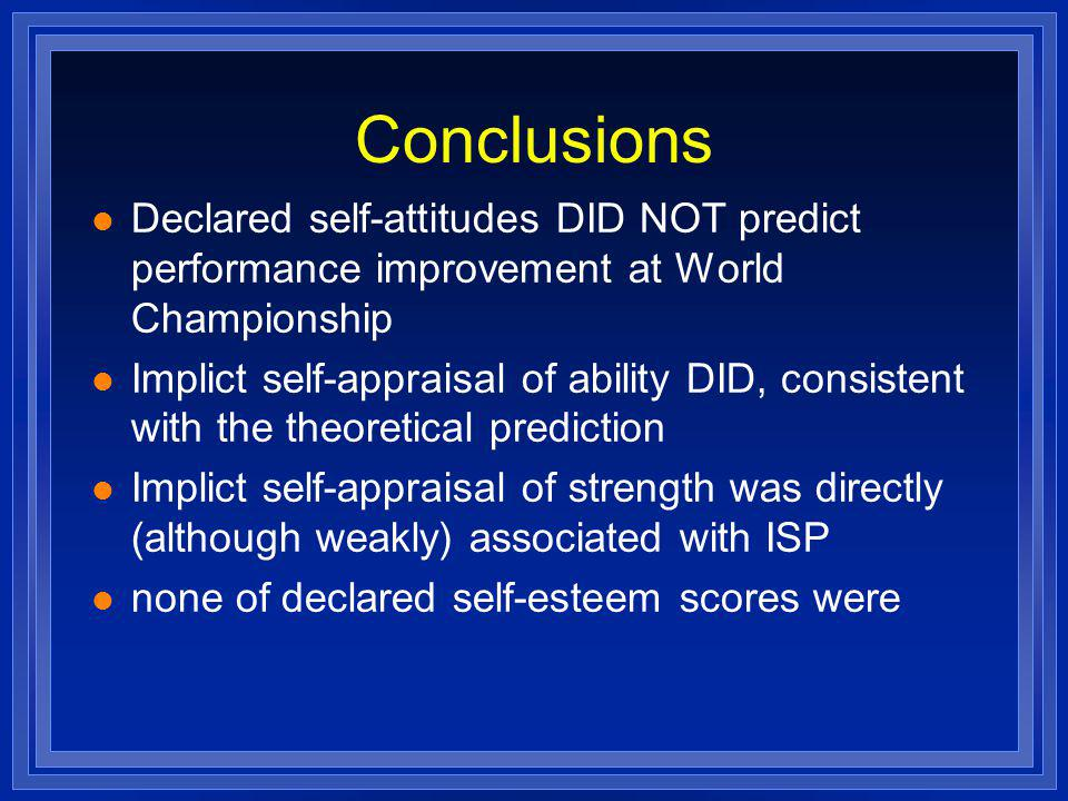 Conclusions l Declared self-attitudes DID NOT predict performance improvement at World Championship l Implict self-appraisal of ability DID, consisten