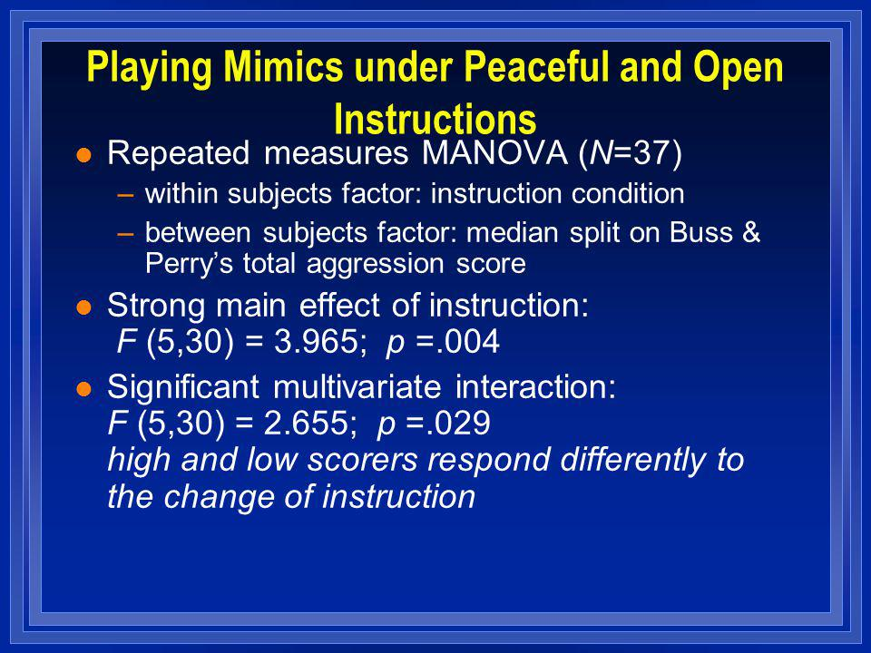 Playing Mimics under Peaceful and Open Instructions l Repeated measures MANOVA (N=37) –within subjects factor: instruction condition –between subjects