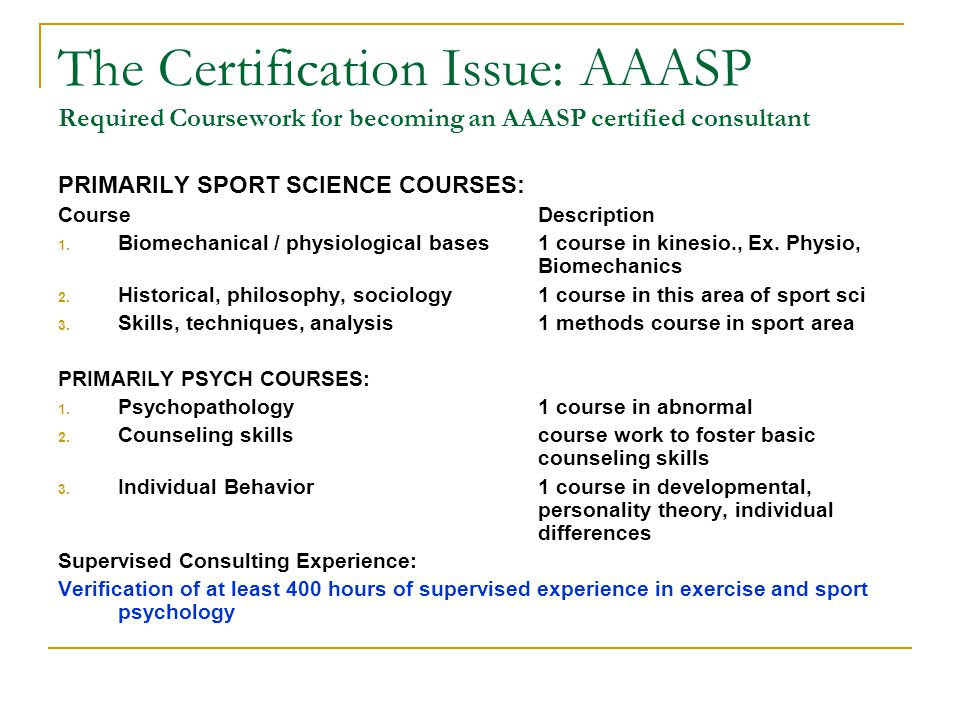 The Certification Issue: AAASP Required Coursework for becoming an AAASP certified consultant PRIMARILY SPORT SCIENCE COURSES: CourseDescription 1. Bi