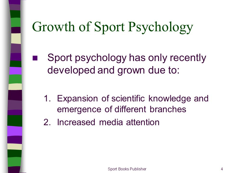 Sport Books Publisher5 Outline In this section you will be introduced to the following sport psychology issues: –Influence of personality on performance –Effect of sport on personality –Relationship between anxiety and performance –Effect of motivation on sport performance –Effects of the audience on athletic accomplishments