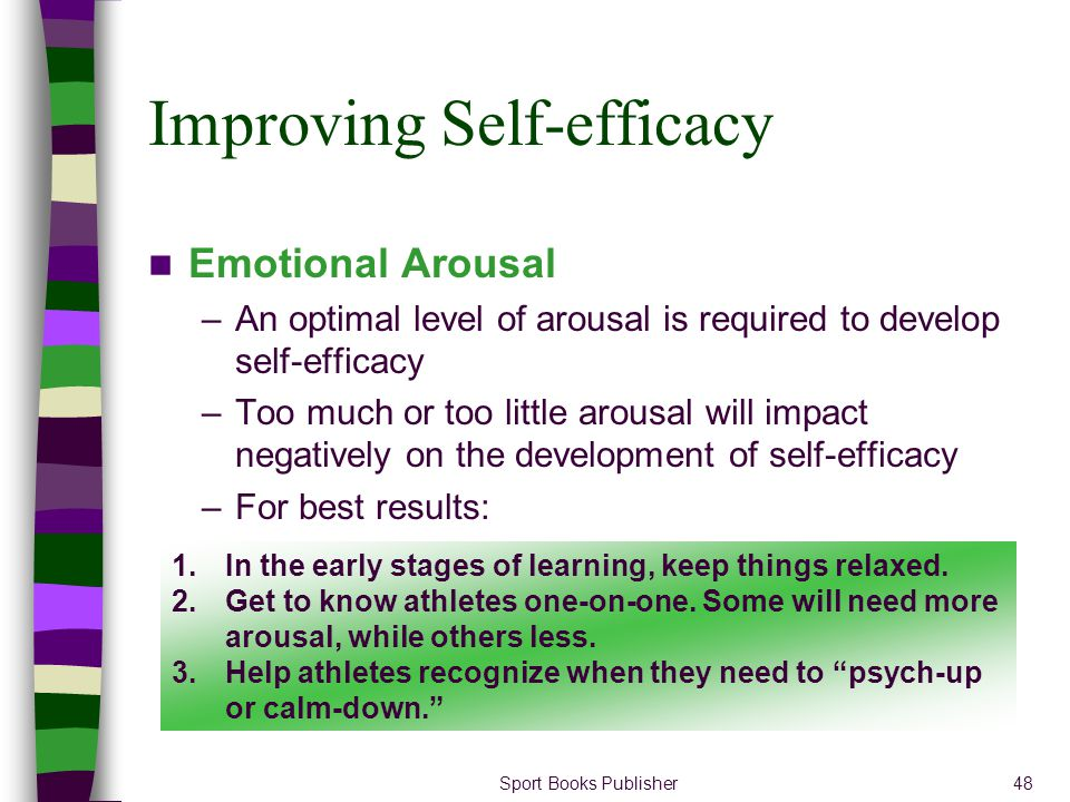 Sport Books Publisher48 Improving Self-efficacy Emotional Arousal –An optimal level of arousal is required to develop self-efficacy –Too much or too l